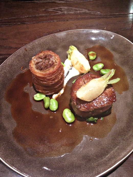 Fillet of dexter beef with beef croustillant, dittander, turnips and broad beans