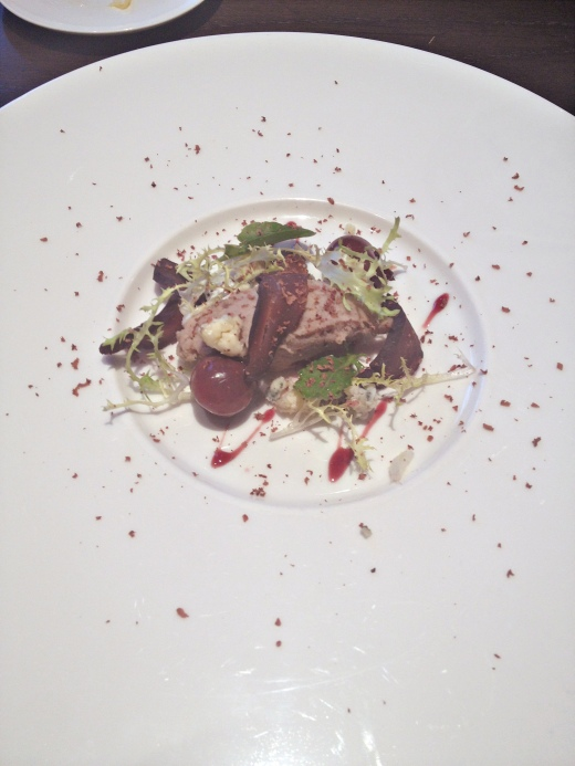 Bresaola of duck breast with neck rillette, cherries, Kentich blue bell and dark chocolate