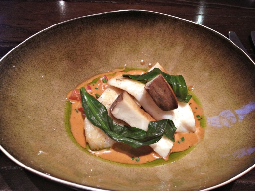 Fillet of John Dory with king oyster mushrooms, lobster and sea aster