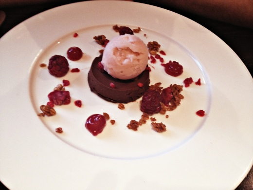 chocolate ganache with loganberries and raspberry ice-cream