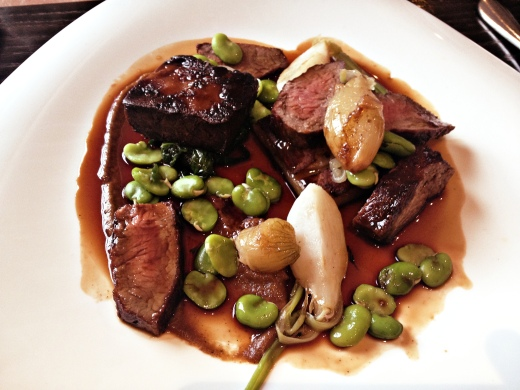 Dexter brisket with turnips, broad beans and shallots